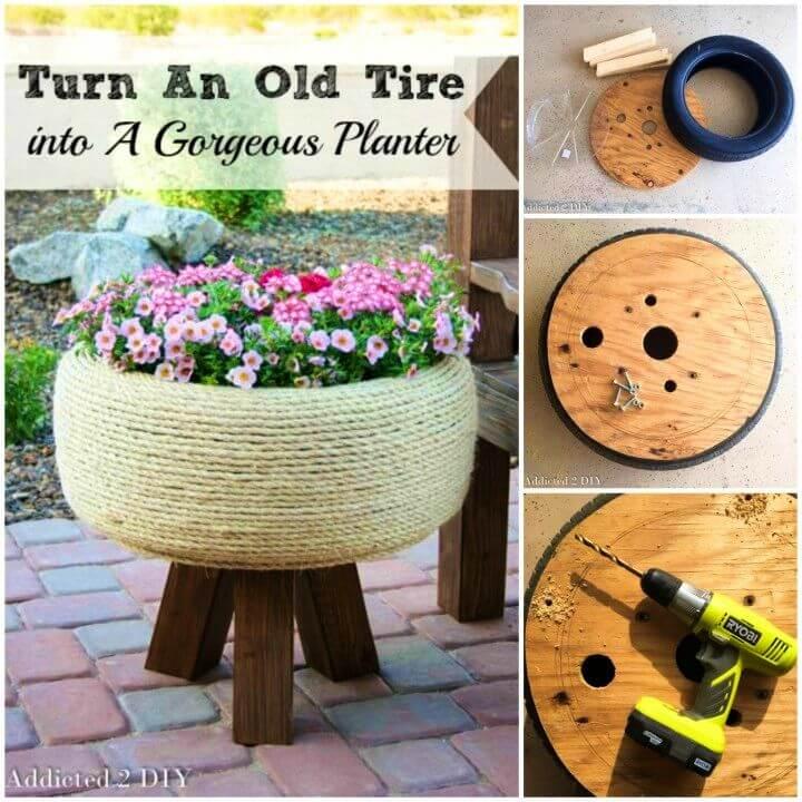 Gorgeous DIY Old Tire Planter