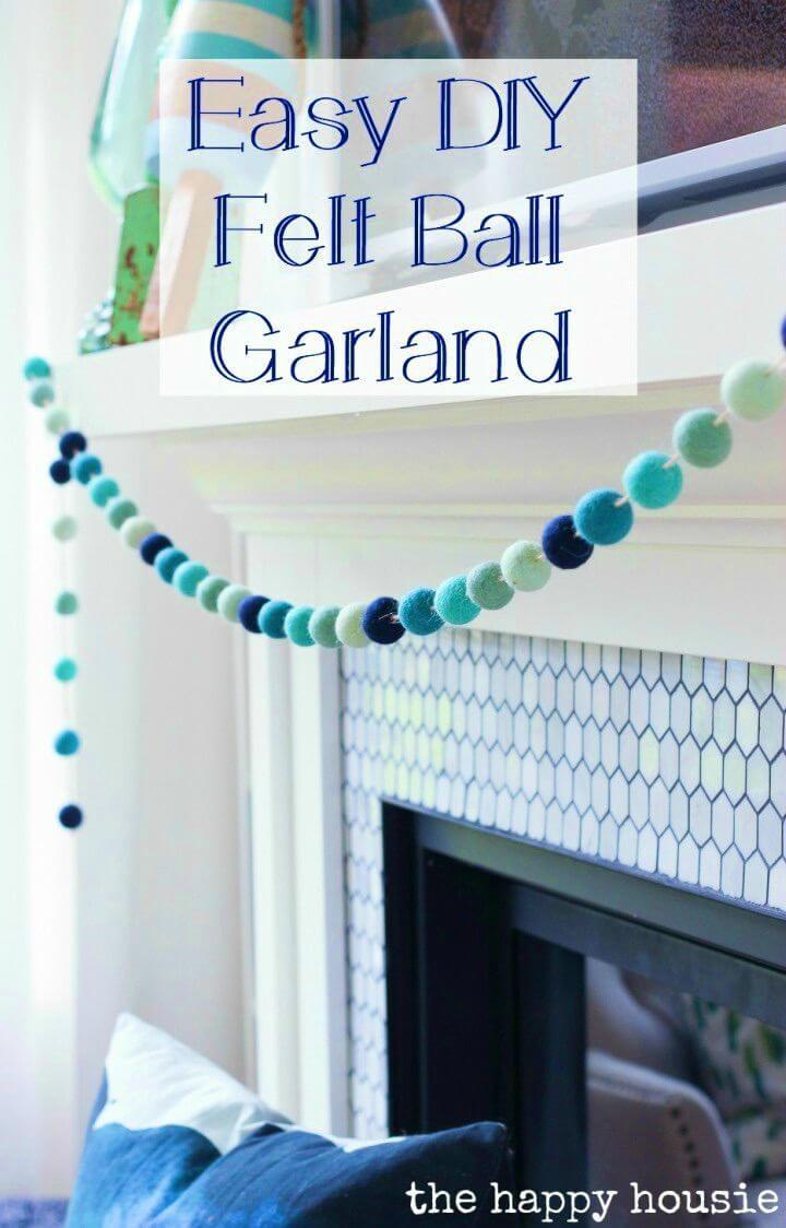 Gorgeous DIY Ombre Beachy Felt Ball Garland