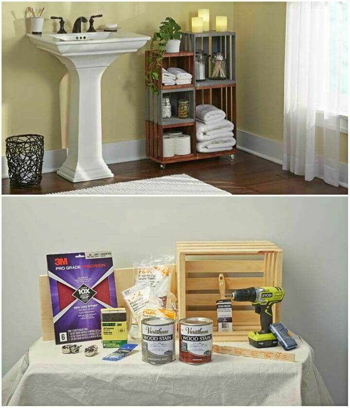Ho to Turn Wooden Crates Into Rolling Bathroom Storage