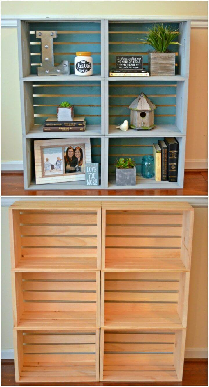How to DIY Crate Bookcase