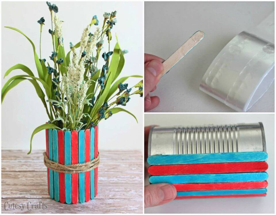 How to DIY Popsicle Stick Vases