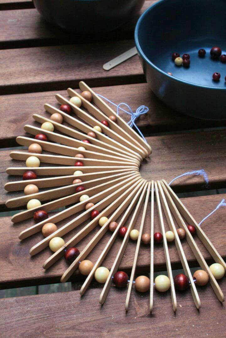 How to DIY Popsicle Stick and Wooden Bead Trivet