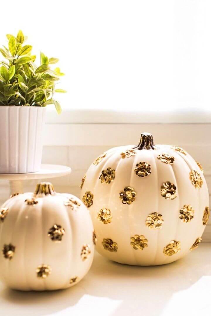 How to DIY Sequin Polka Dot Pumpkin
