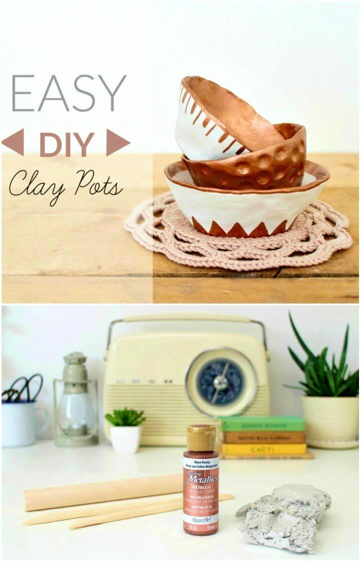 How to Make Air Dry Mini Clay Pots