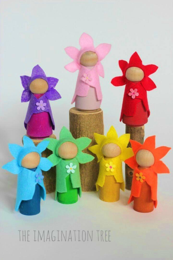 How to Make Flower Fairy Wooden Peg Dolls