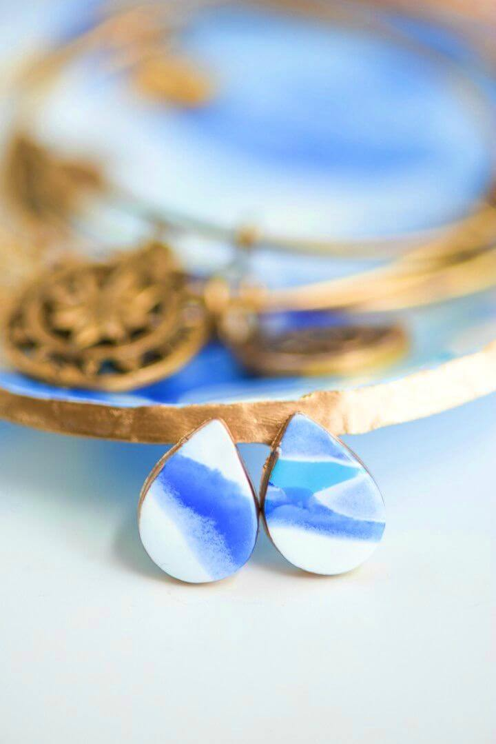 How to Make Marbled Clay Earrings