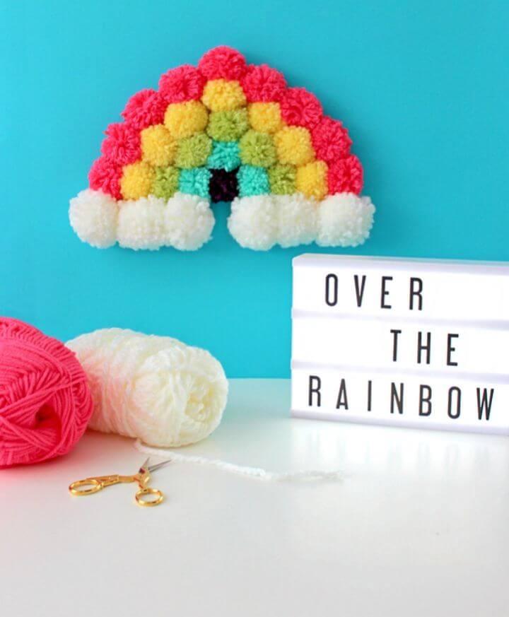 How to Make Pom Pom Rainbow Art
