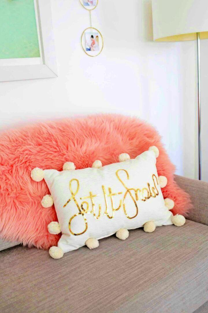 How to Make Sequin Phrase Pillow