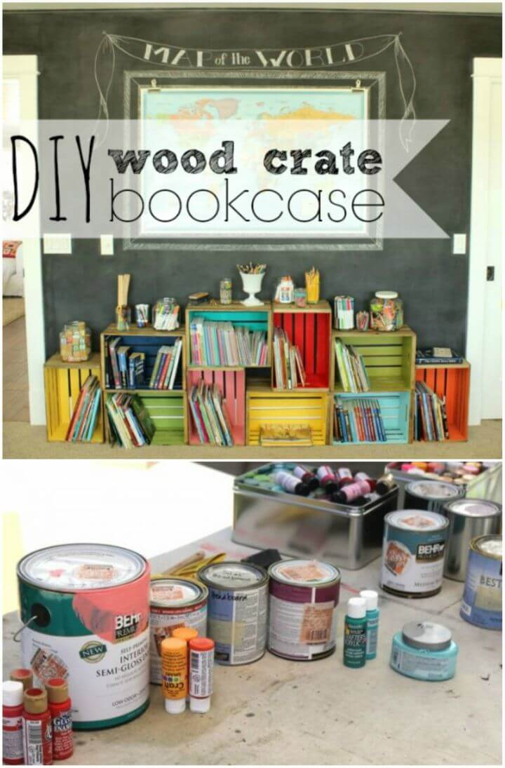 How to Make Wood Crate Bookcase