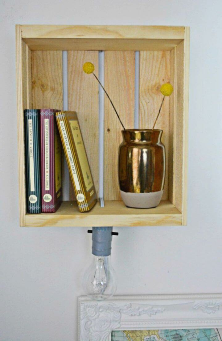 How to Turn Wooden Crate Into Shelf Sconce