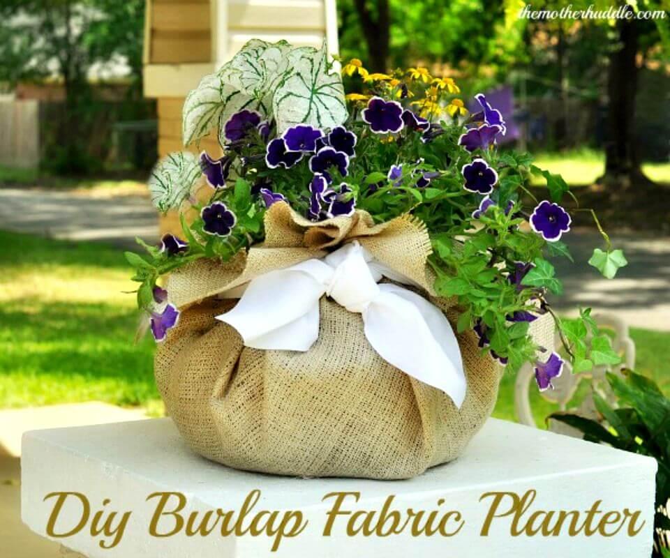 Make Burlap Fabric Planter