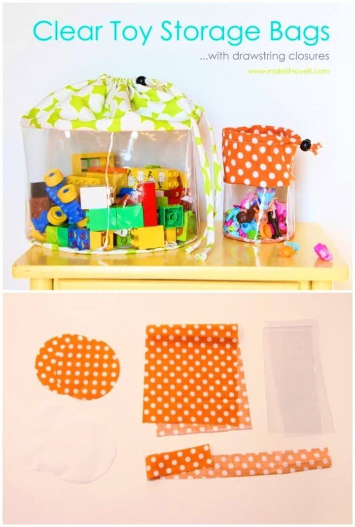 Make Clear Toy Storage Bags with Drawstring Closure