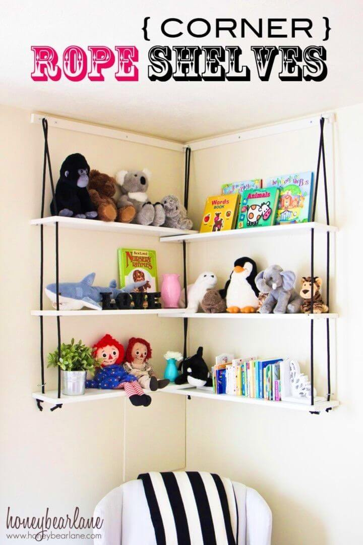 Make Corner Rope Shelves for Toy Storage