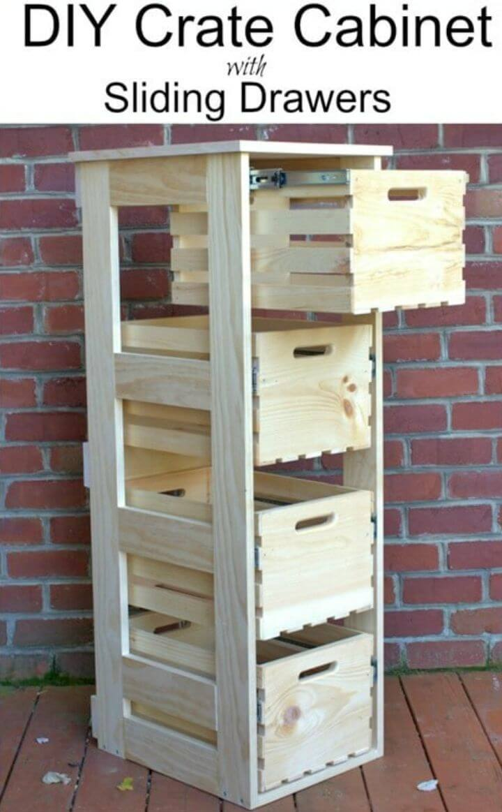 Make Crate Cabinet With Sliding Drawers