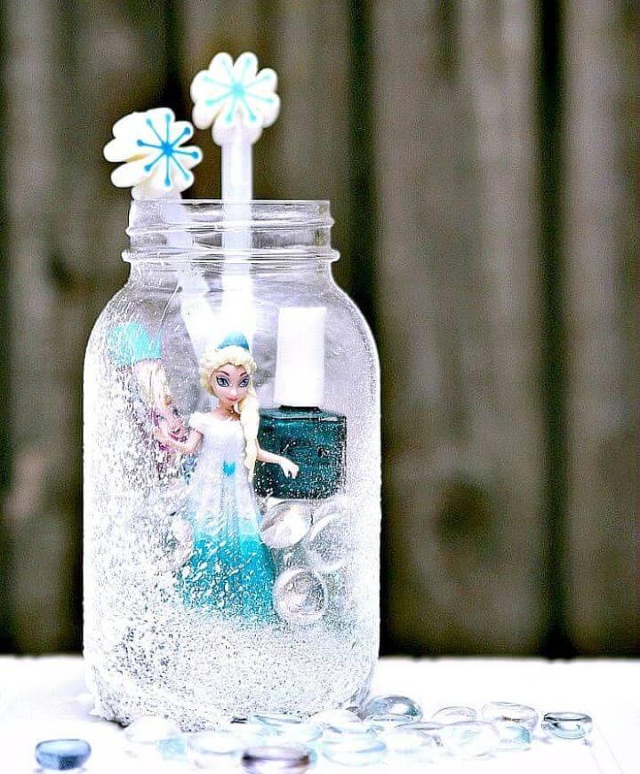 Make Elsa Frozen Mason Jar Gift for Granddaughter