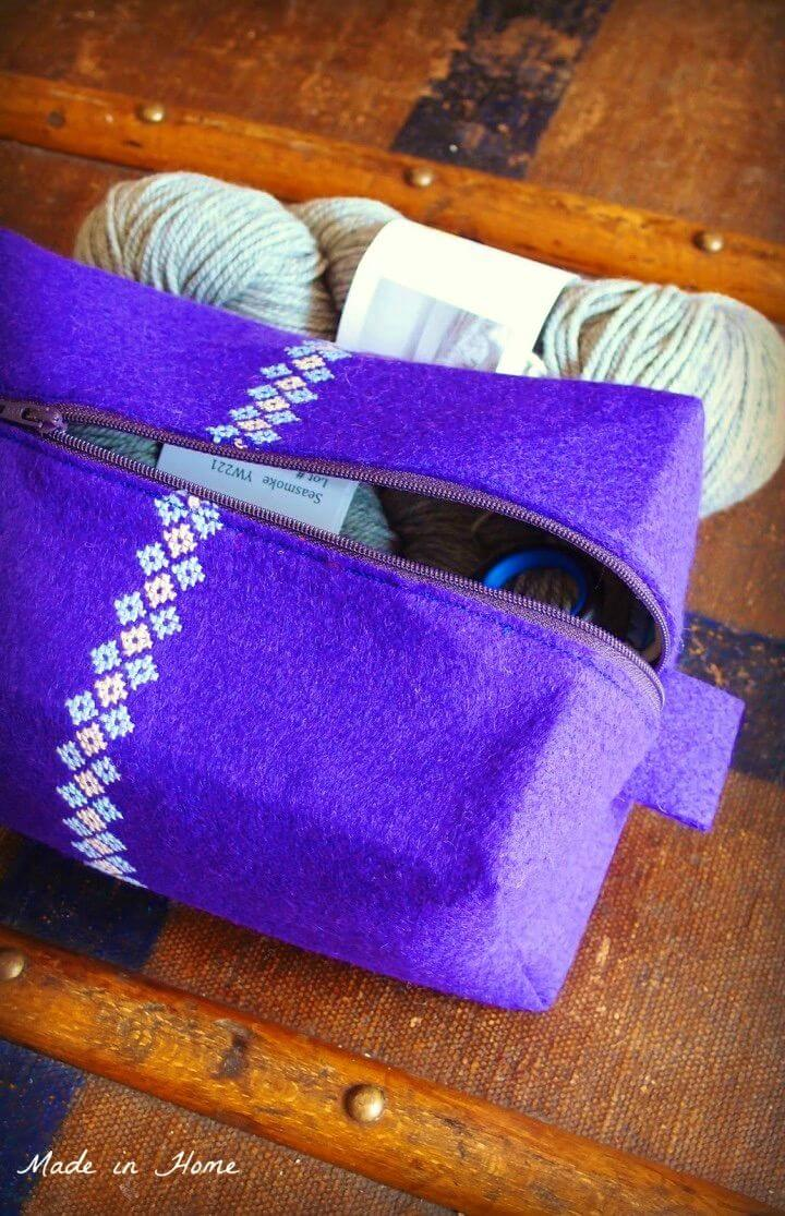 Make Embroidered Boxy Pouch