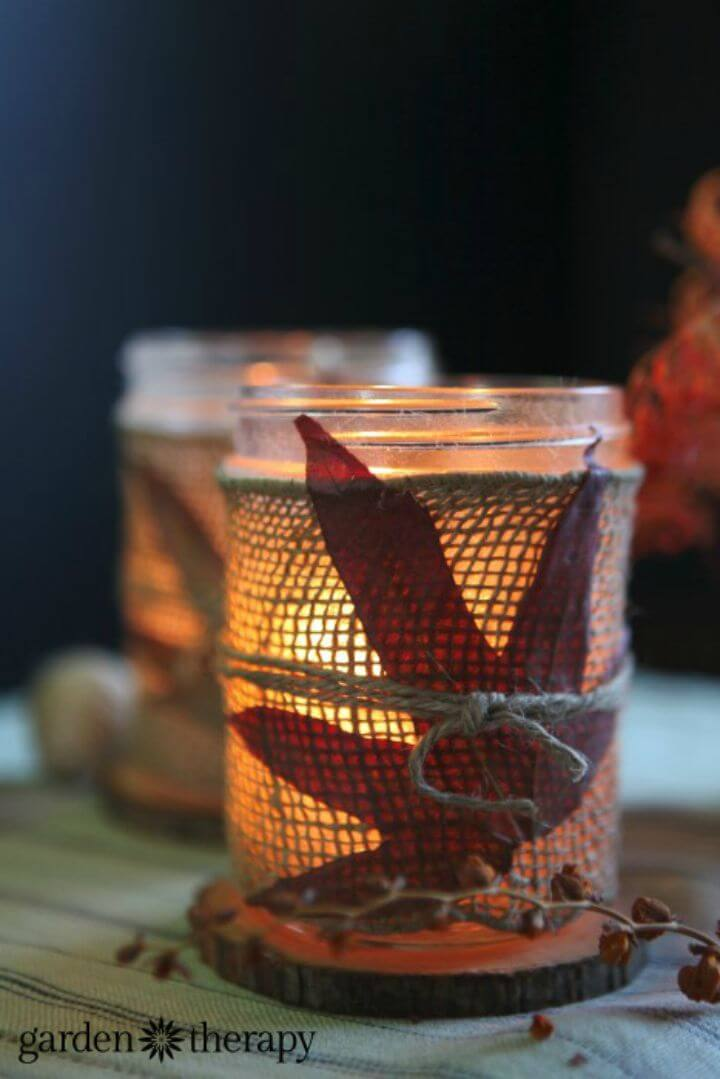 Make Fall Leaves and Burlap Candles