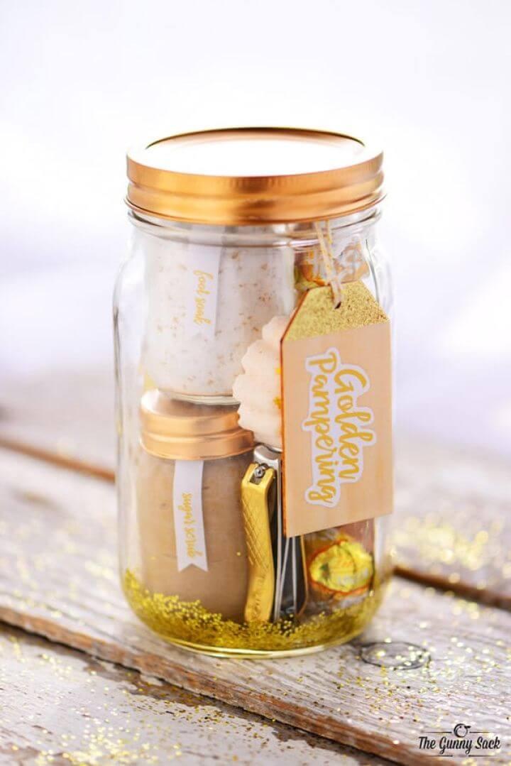 Make Golden Pampering Mason Jar Gift