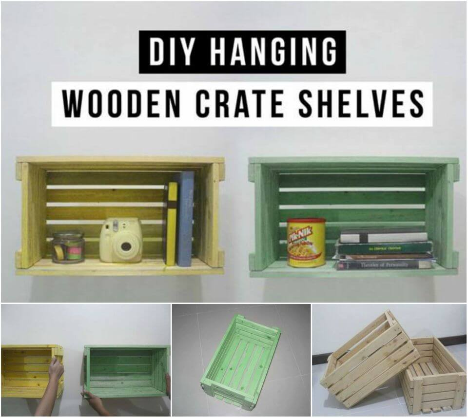 Make Hanging Shelves From Wooden Crates
