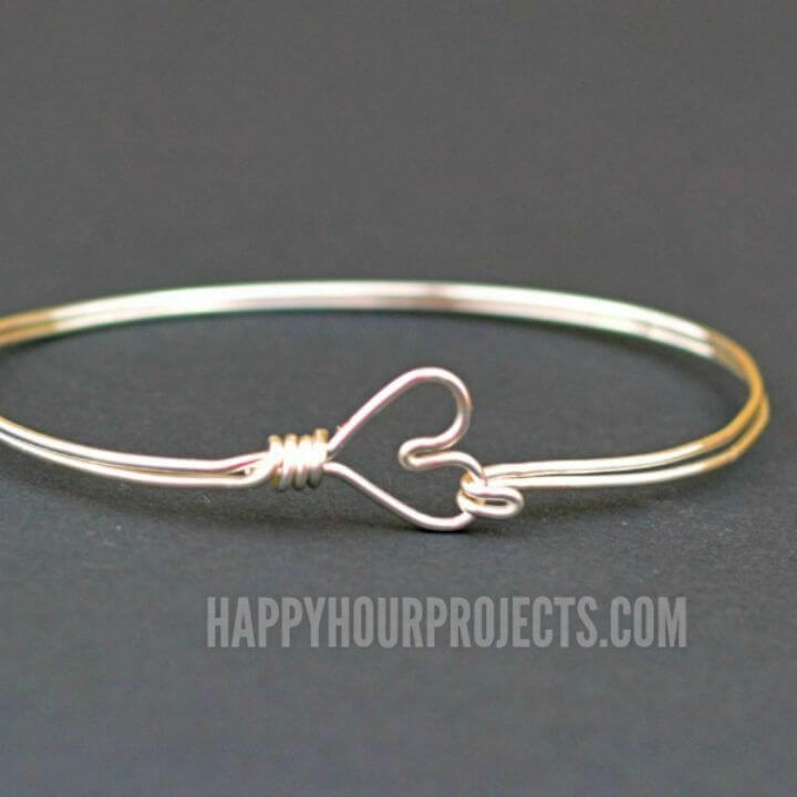 Make Heart Clasp Wire Wrapped Bangle Bracelet
