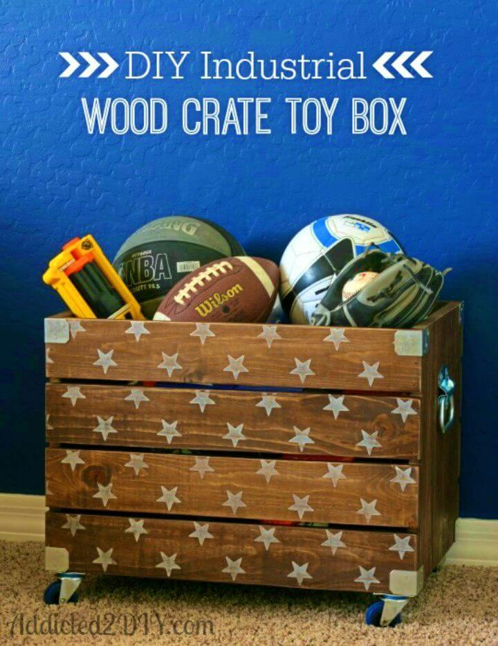 Make Industrial Wood Crate Toy Box