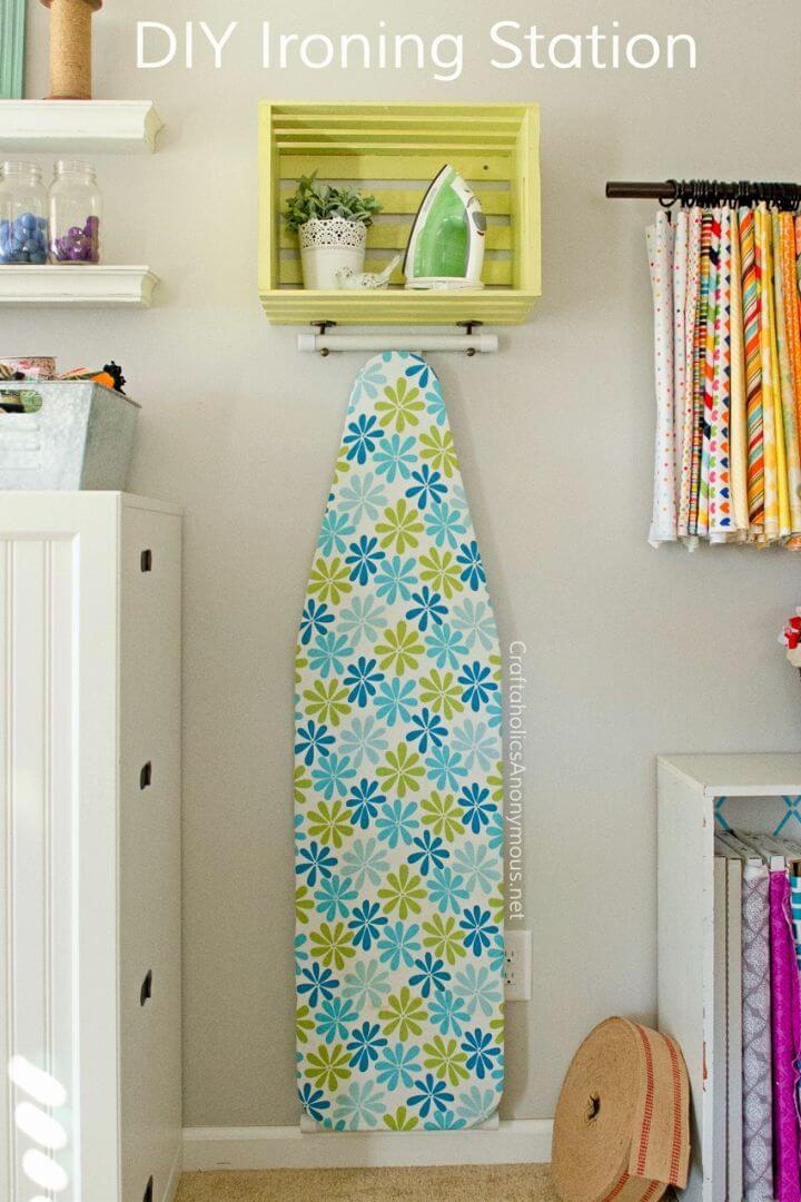 Make Ironing Board Station Using a Wood Crate