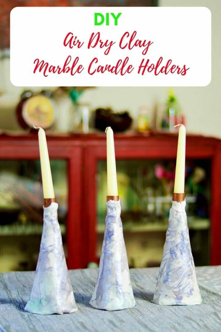 Make Marble Air Dry Clay Candle Holder
