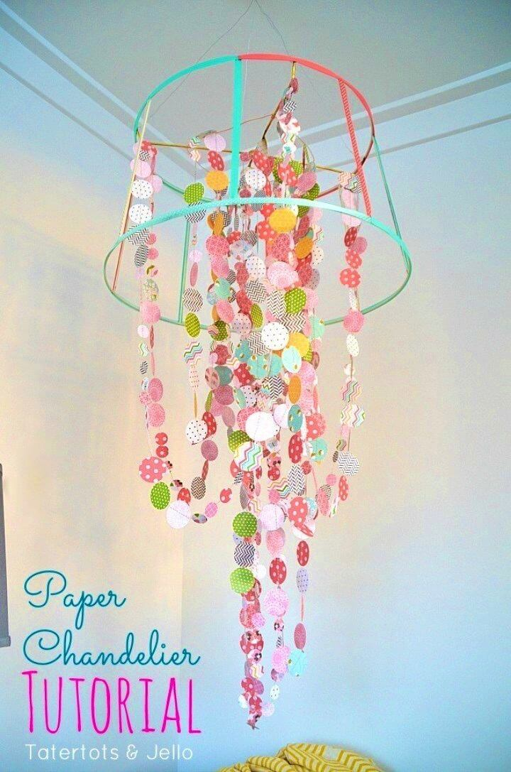 Make Our Own Paper and Ribbon Chandelier