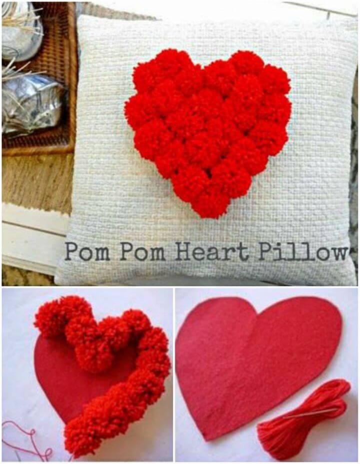 Make Pom Pom Heart Pillow