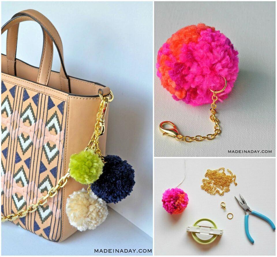 Make Pom Pom Keychain Bag Charm