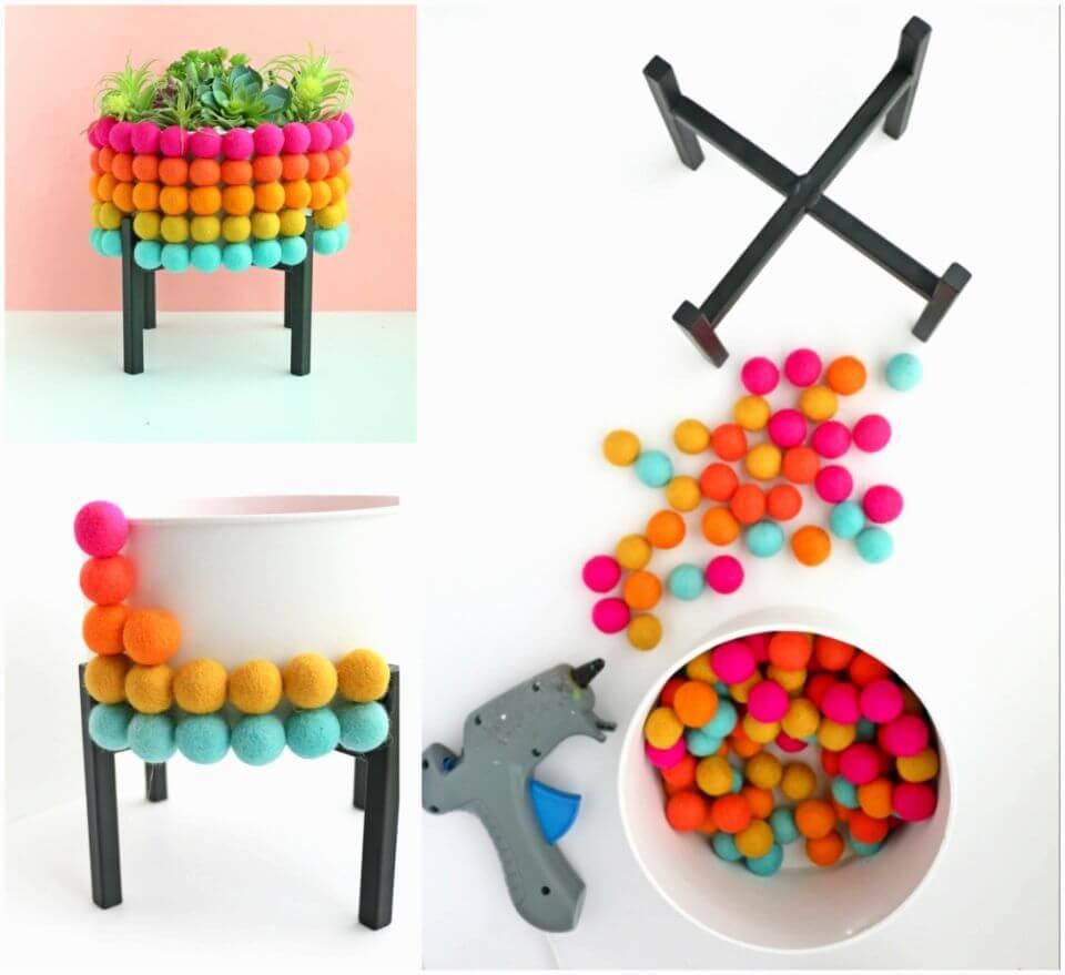 Make Rainbow Pom Pom Planter
