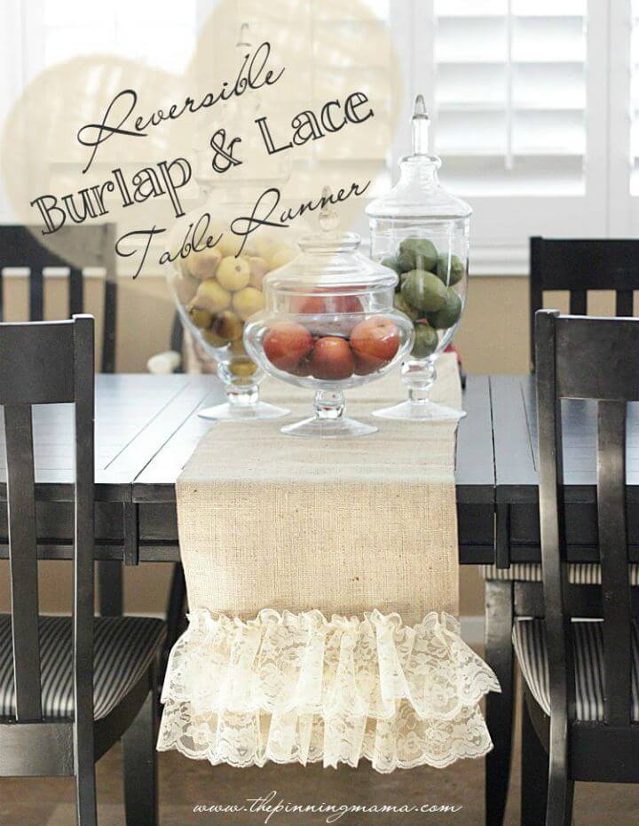 Make Reversible Burlap and Lace Table Runner
