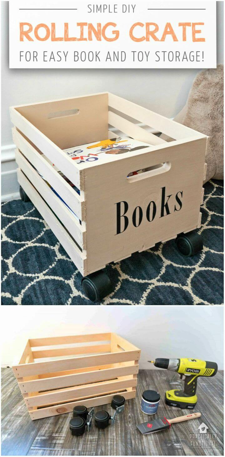 Make Rolling Crate to Store Her Books