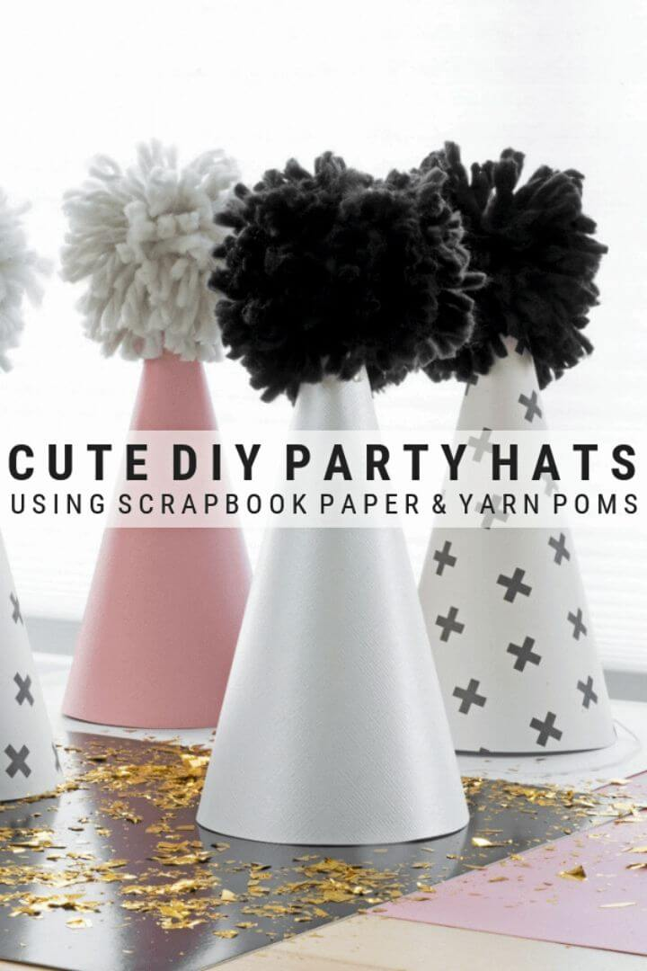 Make Scrapbook Paper and Yarn Pom Pom Party Hats