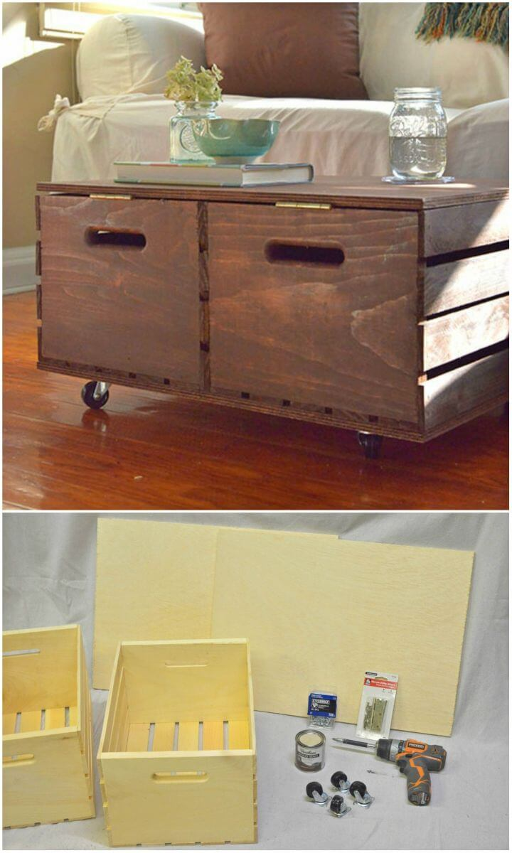 Make Storage Ottoman From Wooden Crates