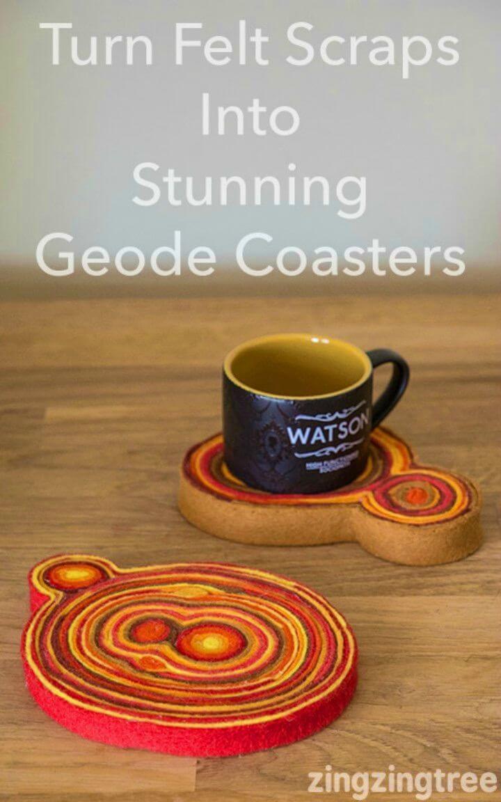 Make Stunning Scrap Felt Geode Coasters