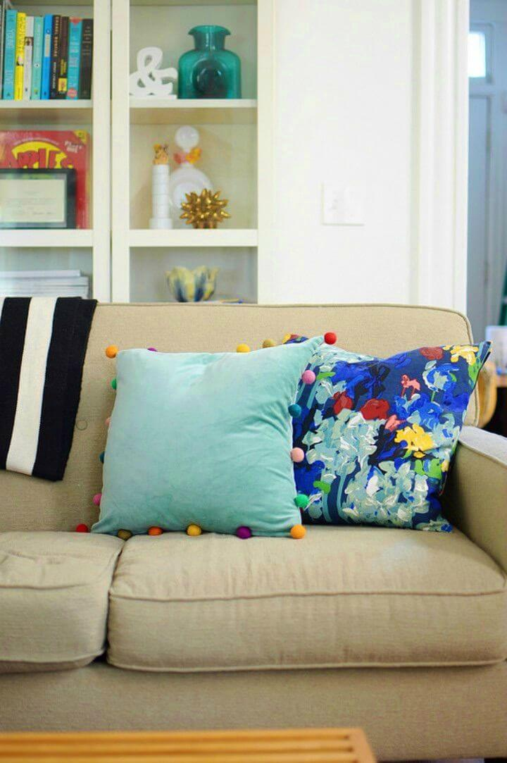 Make Velvet Pom Pom Pillows