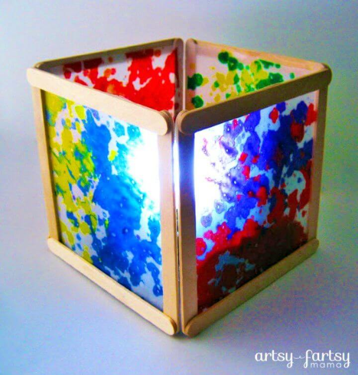 Make Wax Paper Lantern Out of Popsicle Sticks