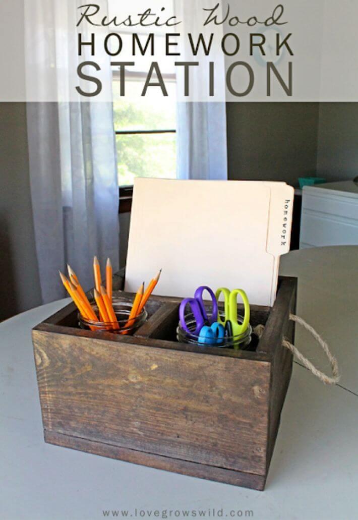 Make Wood Crate Homework Station