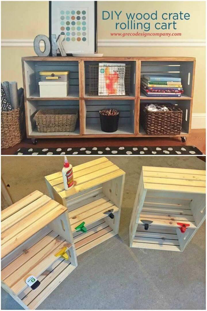 Make Wood Crate Rolling Cart