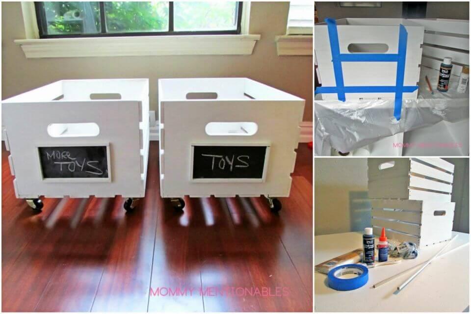 Make Wooden Crate on Wheels Toy Storage