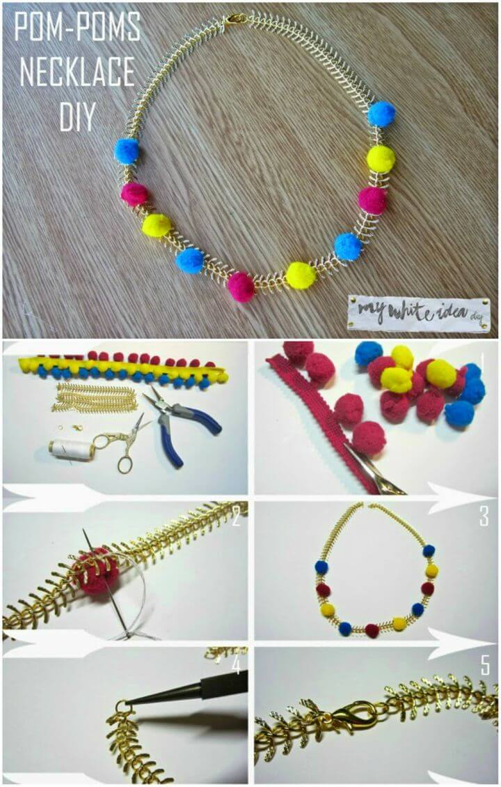 Make Your Own Pom poms Necklace
