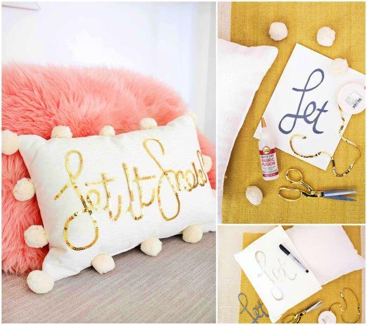 Make a Sequin Phrase Pillow
