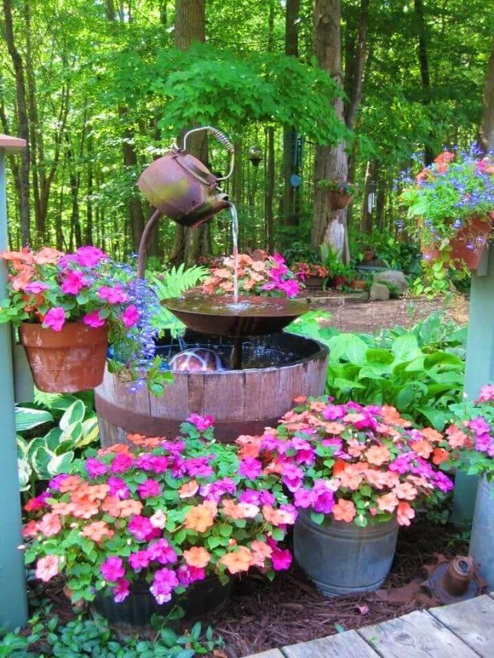 Make a Tea Pot Fountain in Your Garden