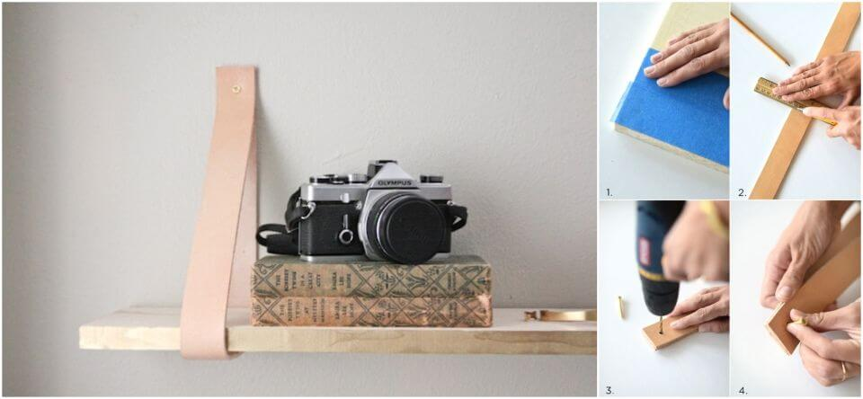 Make a Wood Leather Suspended Shelf