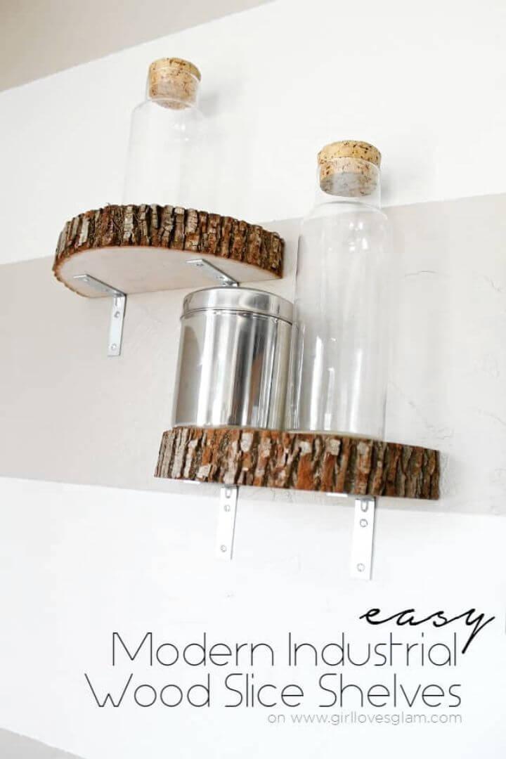 Modern DIY Industrial Wood Slice Shelf