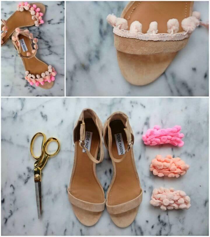 Pretty DIY Aquazzura inspired Pom Pom Sandals
