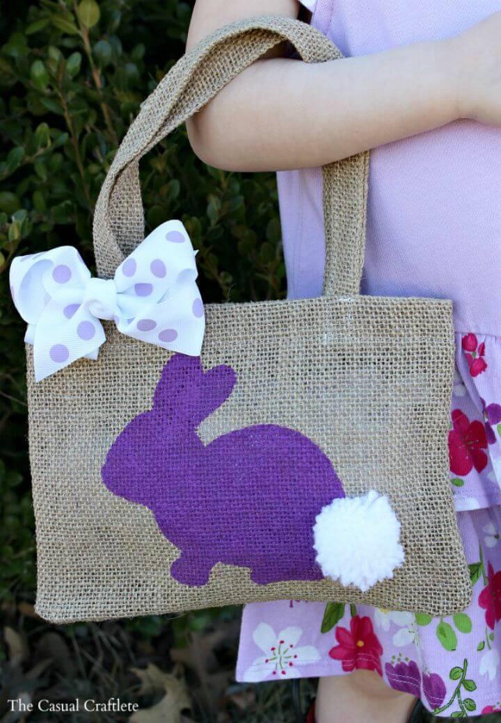Pretty DIY Burlap Bunny Bag