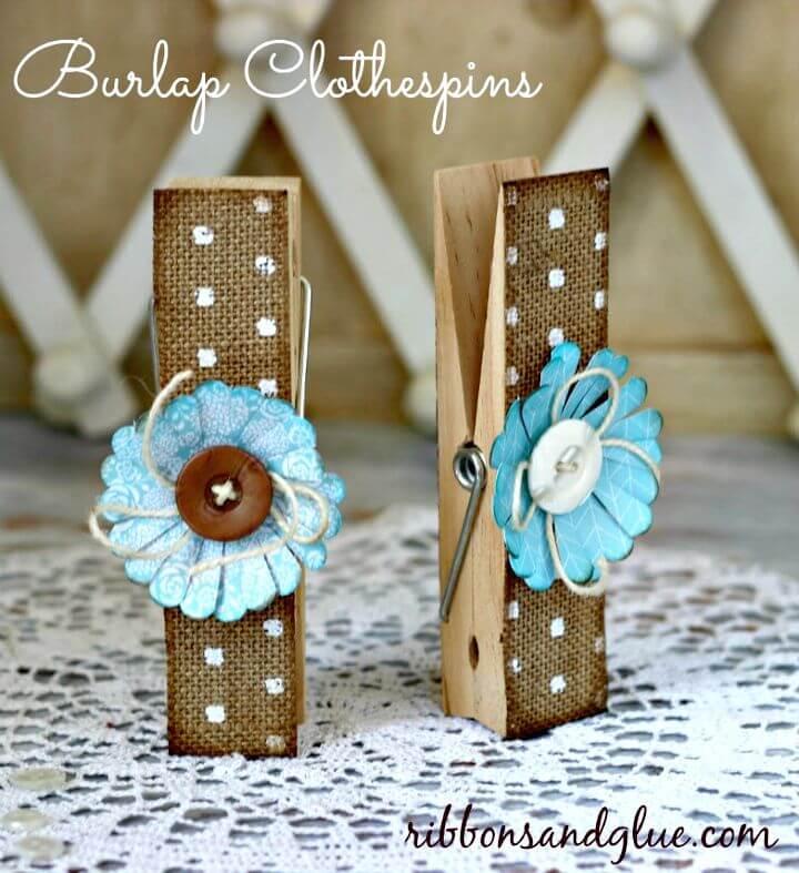 Pretty DIY Burlap Clothespins