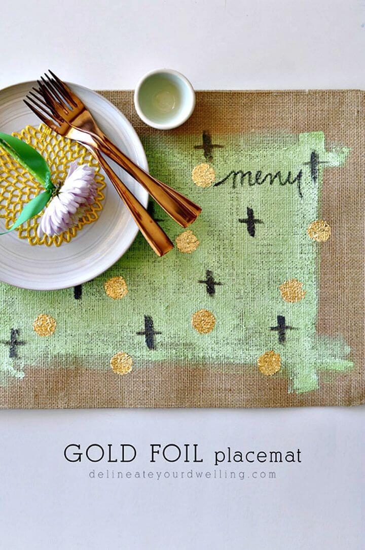 Pretty DIY Burlap Gold Foil Placemats